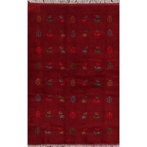 "Animals Tribal Red Gabbeh Shiraz Persian Area Rug Handmade Carpet - 4'3"" x 6'7"""