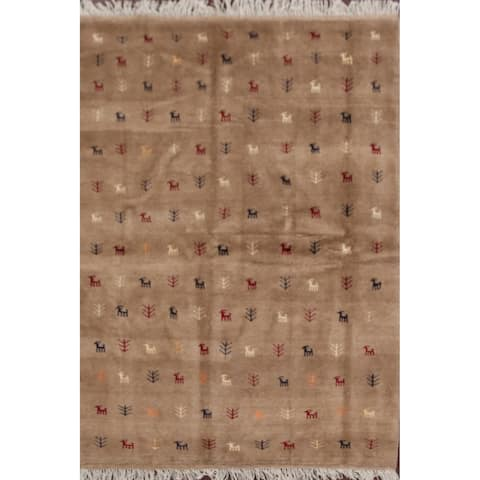 "Brown Tribal Gabbeh Shiraz Persian Area Rug Handmade Wool Carpet - 4'5"" x 6'4"""