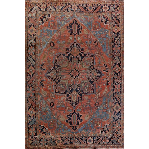 """Antique Vegetable Dye Heriz Serapi Persian Area Rug Hand-Knotted - 11'10"""" x 15'10"""""""