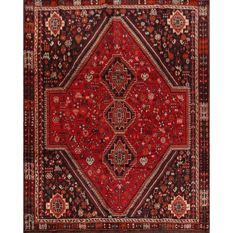 "Vintage Tribal Geometric Shiraz Persian Area Rug Hand-Knotted Carpet - 6'11"" x 9'7"""