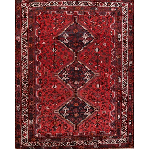 "Vintage Tribal Geometric Shiraz Persian Area Rug Handmade Carpet - 7'1"" x 10'0"""