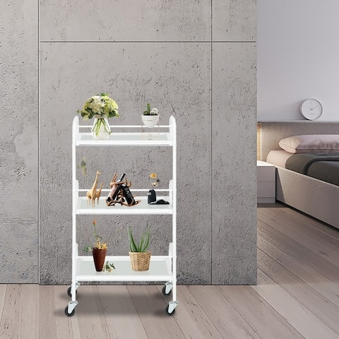 """33"""" Three-Layer Beauty Tool Cart With Glass White"""