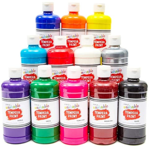 12x Tempera Paint Set with Plastic Cups for Kids Schools DIY Art Crafts 16 oz