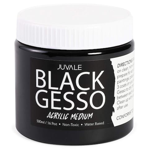 Gesso Acrylic Paint for Arts Crafts, Surface Primer Prep, 16.9oz, 500ml, Black