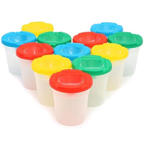 12x Spill Proof Paint Cups with Lids for Kids, 4 Assorted Colors, 2.8 x 2.3 inch