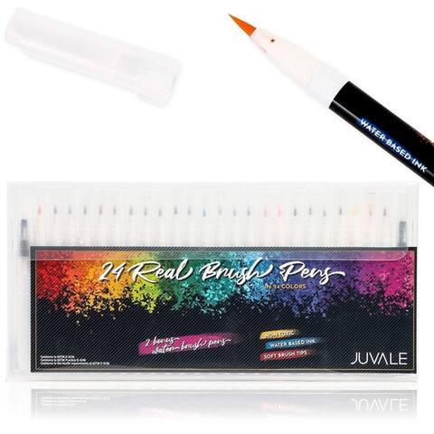 26 Pack Brush Pen Set, 24 Brush Pens Colors and 2 Watercolor Brush Pens, 6 inch