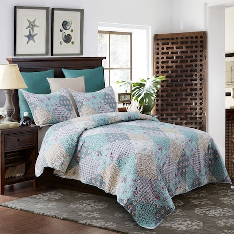 3 Piece Blooming Floral Patchwork Quilt Set Reversible Coverlets