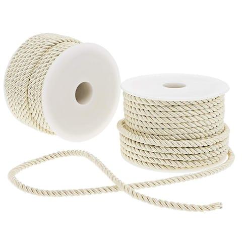 2x Twisted Nylon Rope Rayon Cord Trim Rope DIY Crafts, 0.2 inch x 18 Yards Ivory
