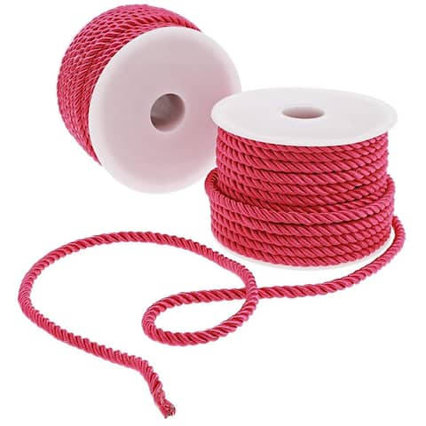 2x Twisted Nylon Rope Rayon Cord Trim Rope DIY Crafts, 0.2 inch x 18 Yards, Pink