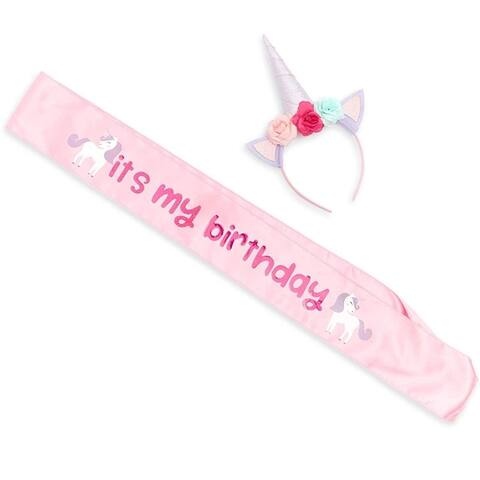 Unicorn Birthday Sash and Headband for Girls Party Costume Headwear One Size