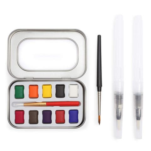 Assorted Water Colors Travel Pocket Set with 2 Brushes and 2 Pens Art Painting