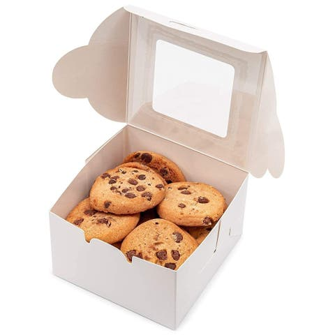 "50x Pastry Bakery Box with Window for Cookies Cupcakes Donuts Muffins 4x4x2.3"" - White - 4""x4""x2.3"""