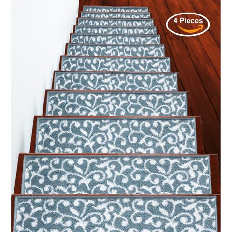 """SUSSEXHOME Leaves Collection Stair Treads 100% Polypropylene 9""""x28"""""""