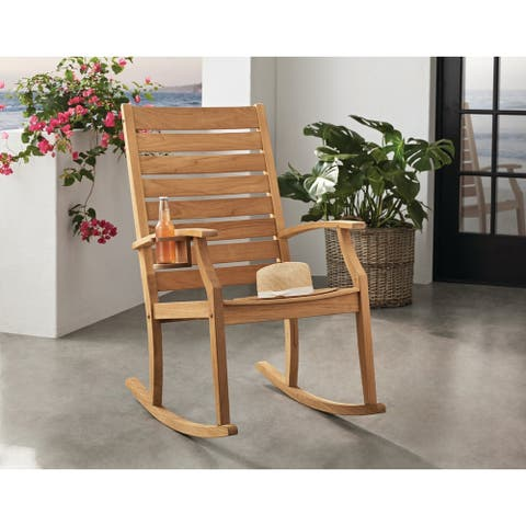 Cambridge Casual Logan Teak Outdoor Rocking Chair with Cup Holder