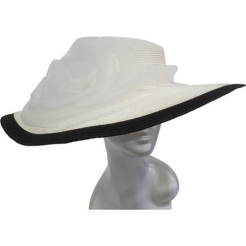 White/Black Crinoline Flower Paper Braid Wide Brim Dressy Derby Hat