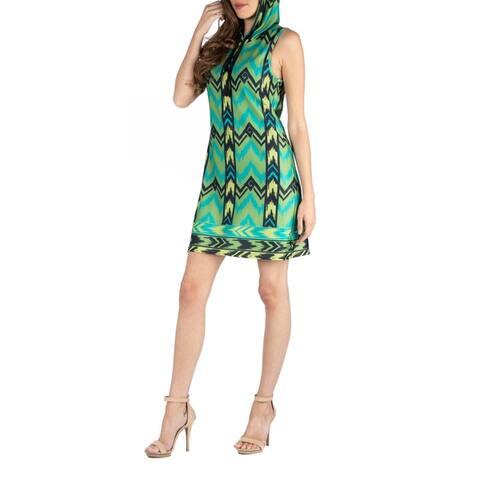 24seven Comfort Apparel Sleeveless Hooded Mini Dress