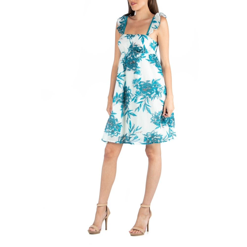 24seven Comfort Apparel Ruffle Strap Floral Sleeveles A Line Dress by  Design