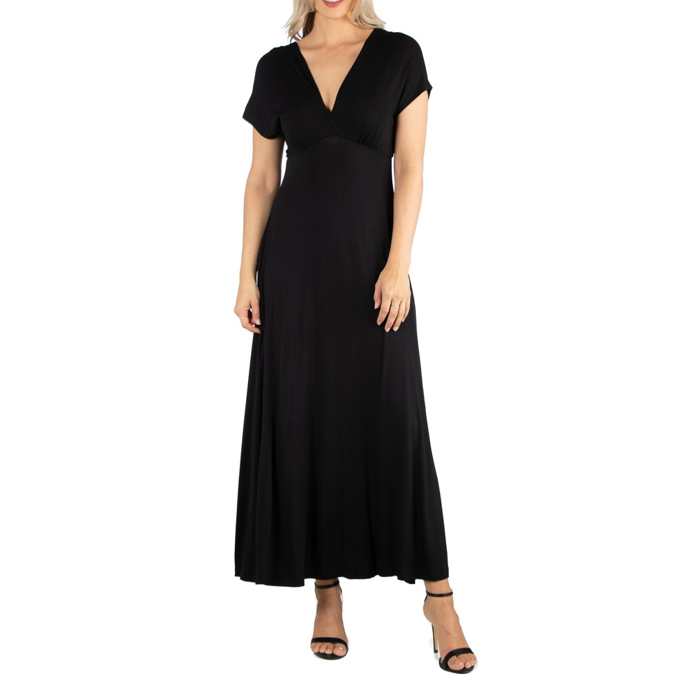24seven Comfort Apparel Womens Cap Sleeve V Neck Maxi Dress