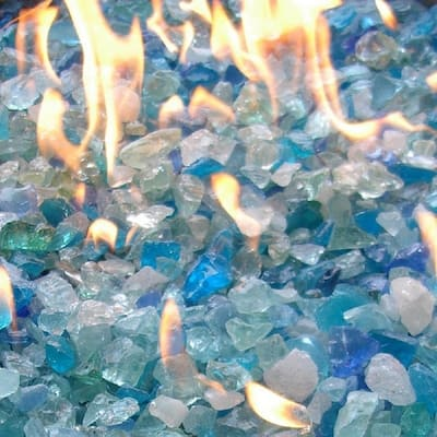 """AZ Patio Heaters 20lbs Recycled Fire Pit Fire Glass in Bahama Blend - .25""""L x .5""""W x .5""""H"""