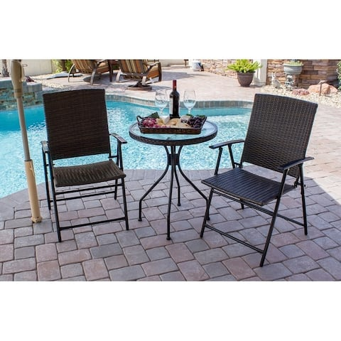 "AZ Patio Heaters Three Piece Patio Set in Dark Brown Wicker - 24""L x 45.5""W x 14.25""H"