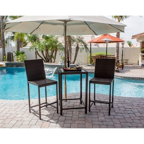 "AZ Patio Heaters Bistro Patio Set in Dark Brown Wicker - 24""L x 24""W x 36""H"