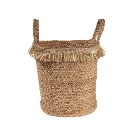 "Natural Fringe and Jute Storage Basket - 17"" x 17"" x 17"""