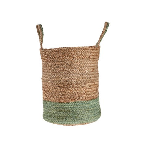 "Seaforam and Natural Color Block Jute Basket - 17"" x 17"" x 17"""