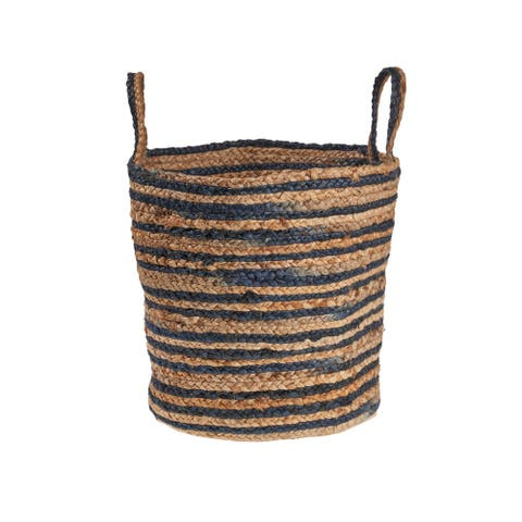 """Dyed Navy and Natural Jute Basket - 17"""" x 17"""" x 17"""""""