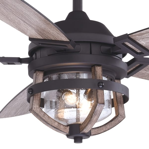 Barnes 54 In Matte Black And Rustic Oak Farmhouse Outdoor Ceiling Fan With Light Kit And Remote Overstock 31059449
