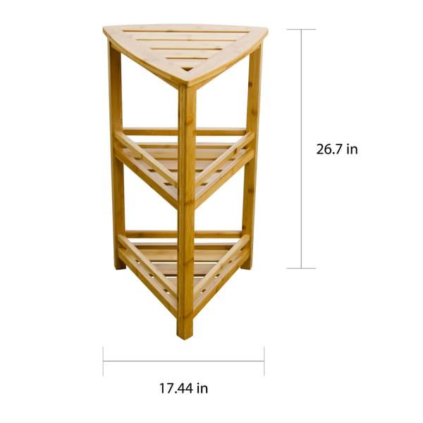 Porch & Den Burning Tree Solid Bamboo 3-tier Triangular Spa Shelf