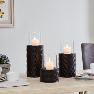 Link to Danya B. Contemporary Candle Holder Set (3) with Clear Glass Hurricanes and Textured Metal Base Similar Items in Decorative Accessories