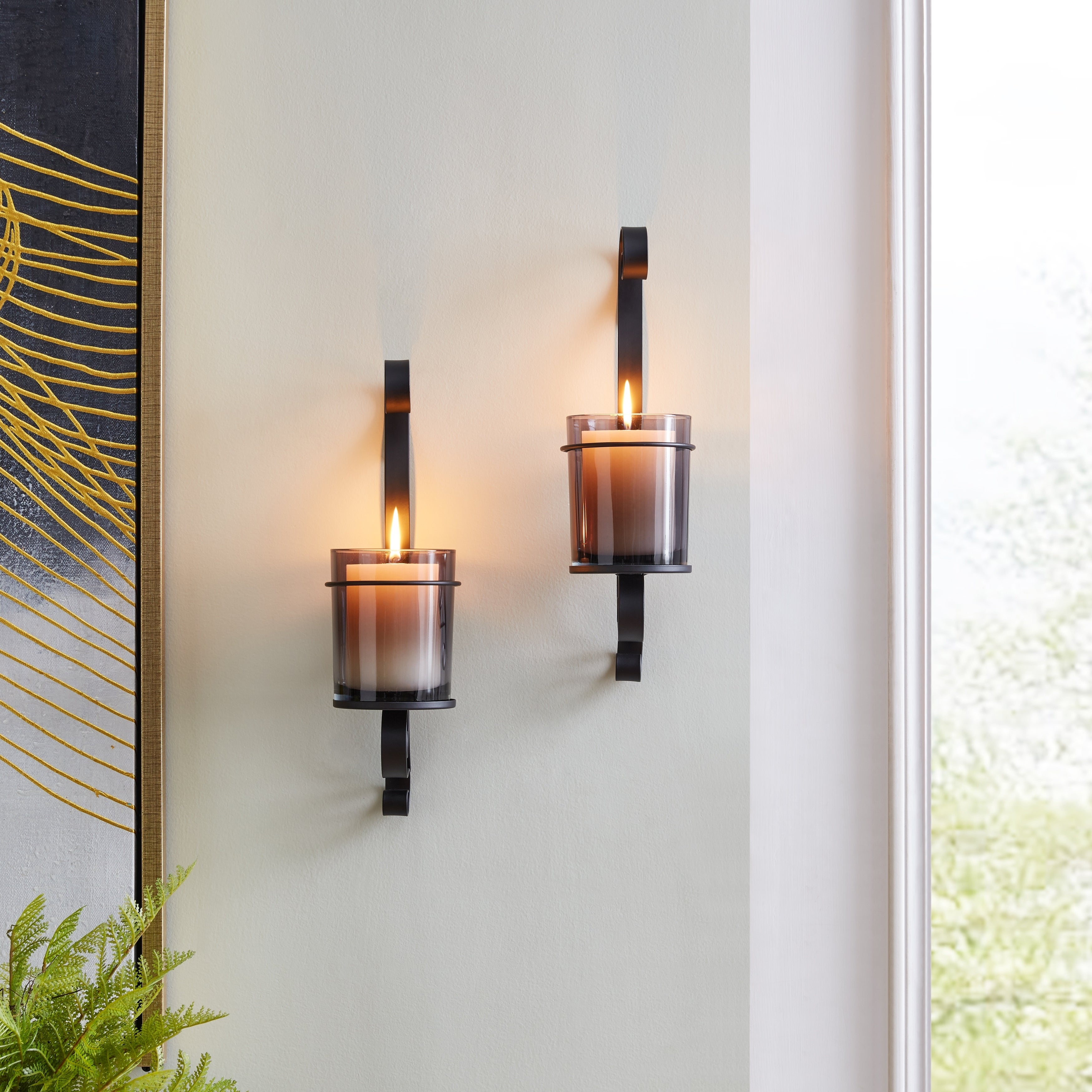 Shop Black Friday Deals On Danya B Vintage Black Wall Sconce Candle Holder Set 2 With Smoke Glass Hurricanes Overstock 31059628