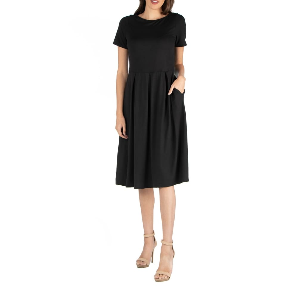 24seven Comfort Apparel Midi Dress With Short Sleeves And Pocket by  Herry Up