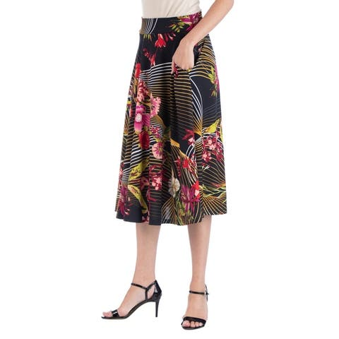 24seven Comfort Apparel Geometric Floral A Line Midi Skirt w Pockets