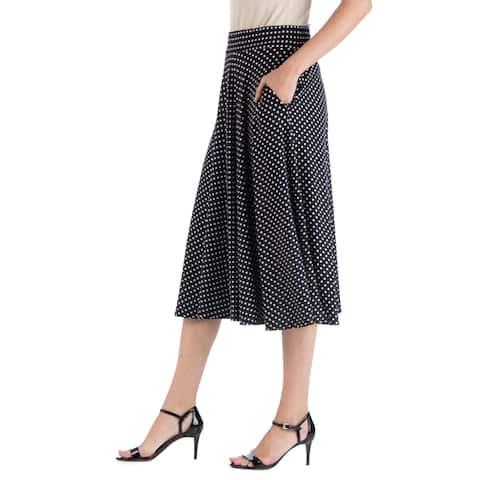 24seven Comfort Apparel Polka Dot A Line Midi Skirt with Pockets