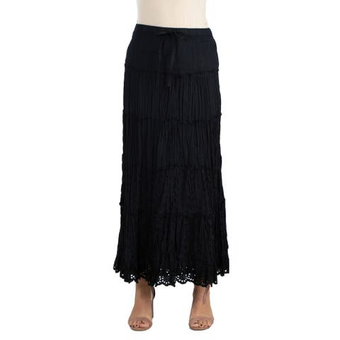 24seven Comfort Apparel Bohemian Style Maxi Skirt with Drawstring