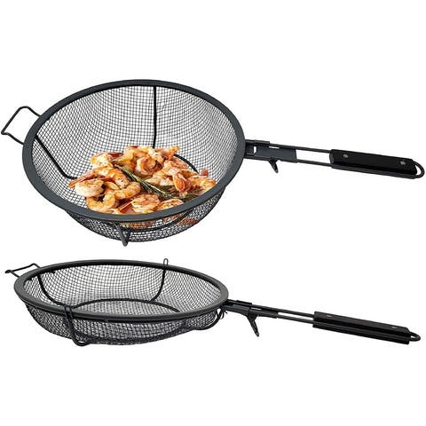 Lavo Home Heavy Duty Grill Basket Set - 2 Nonstick Surface PFOA Free Baskets - Removable Ashwood Handles
