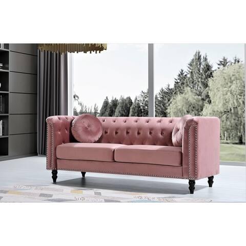 Vivian Classic Velvet Kittleson Nailhead Chesterfield Sofa