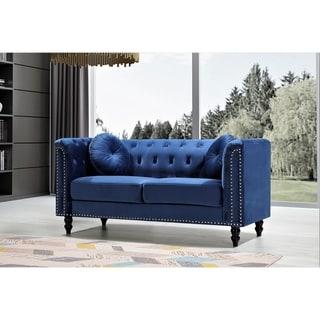Link to Vivian Classic Velvet Kittleson Nailhead Chesterfield Loveseat Similar Items in Living Room Furniture
