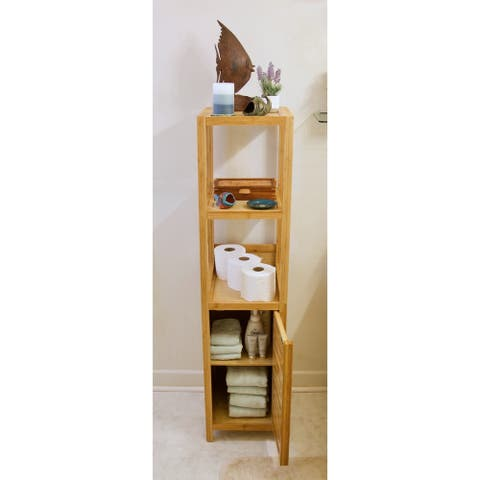 Porch & Den Burning Tree Solid Bamboo Spa Storage Tower Cabinet