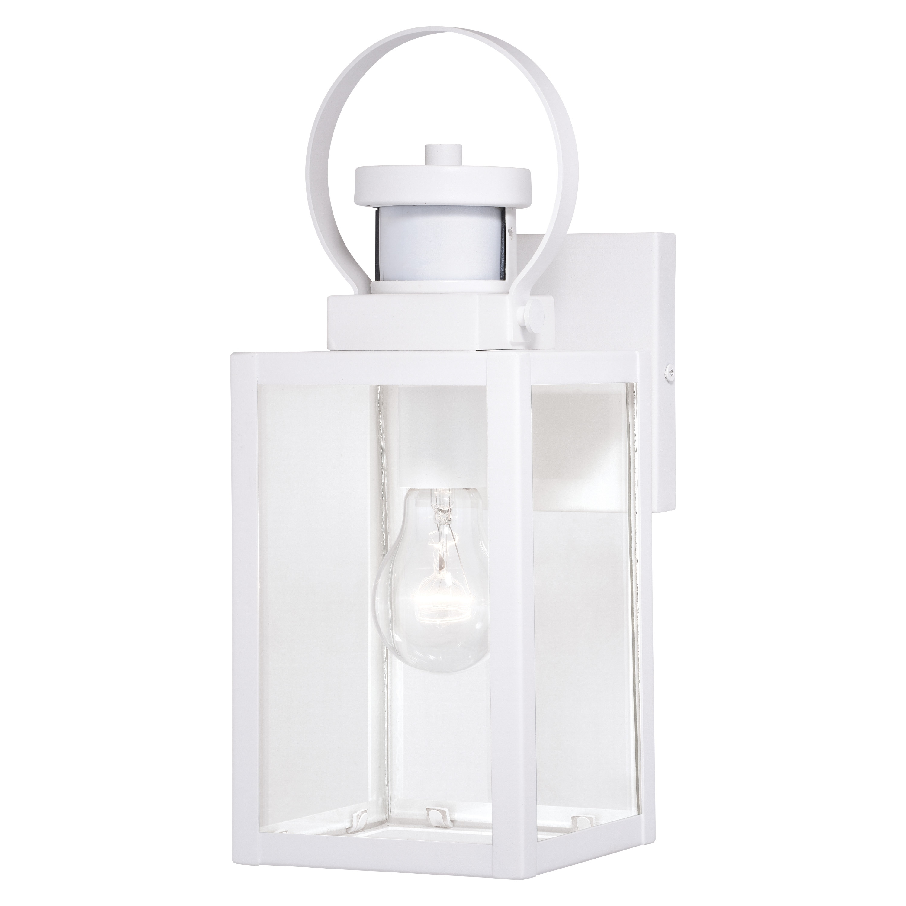 Medinah White Motion Sensor Dusk To Dawn Outdoor Wall Light Clear Glass 5 In W X 13 25 In H X 6 5 In D Overstock 31059857
