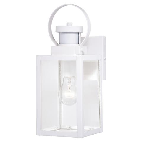 Medinah White Motion Sensor Dusk to Dawn Outdoor Wall Light Clear Glass - 5-in. W x 13.25-in. H x 6.5-in. D