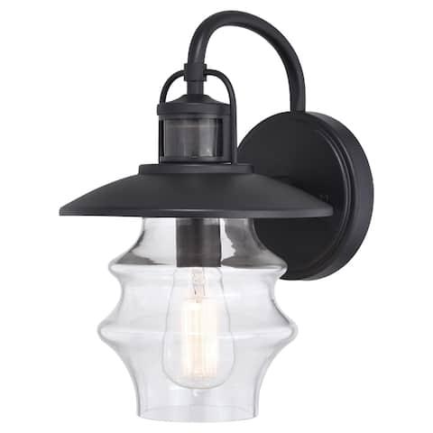 Glenn Black Motion Sensor Dusk to Dawn Outdoor Wall Light Coastal Clear Glass - 8.75-in. W x 13.25-in. H x 10-in. D