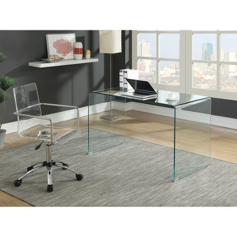 Silver Orchid Sonja Modern Clear Glass Writing Desk