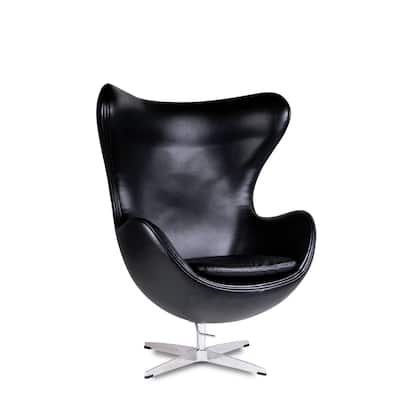 Mini Egg shaped chair with metal base & PU seat material - Black