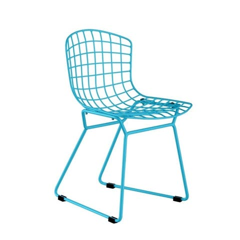 Powder coated solid steel construction chair - Blue