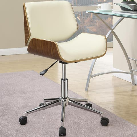 Modern Curved Wood Ecrw Upholstered Adjustable Swivel Office Chair