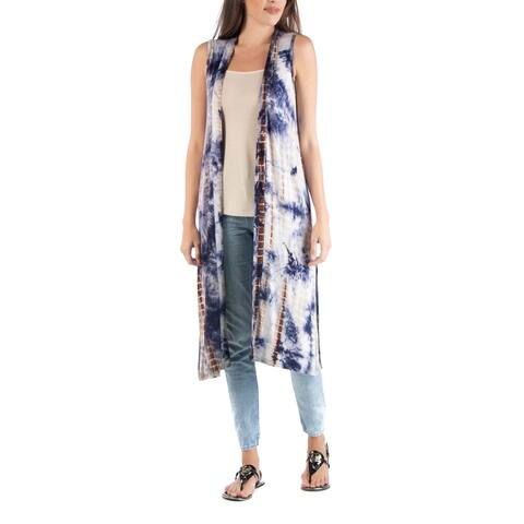 24seven Comfort Apparel Tie Dye Sleeveless Long Cardigan w Side Slit