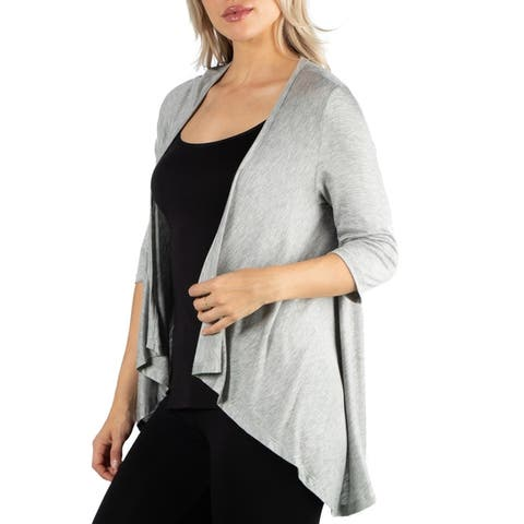 24seven Comfort Apparel Elbow Length Sleeve Open Cardigan
