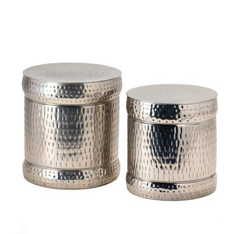 Preston Set of 2 Nickle Outdoor Stools